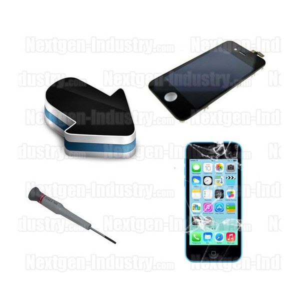 r paration cran lcd vitre tactile iphone 5c. Black Bedroom Furniture Sets. Home Design Ideas